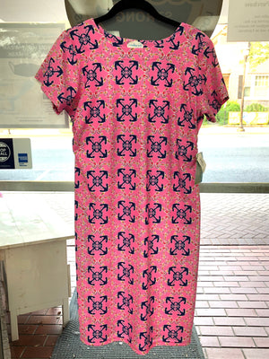 Southwind Hobe Tee Dress-Pink Anchor