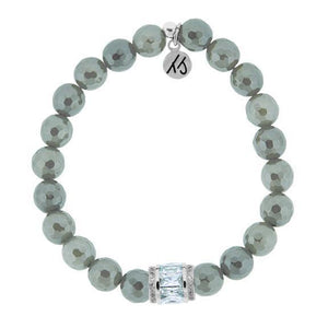 T. Jazelle Grey Agate with Crystal Elegance Bracelet