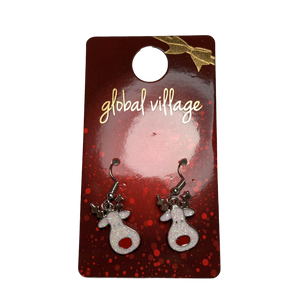 Global Village Glitter Reindeer Earrings
