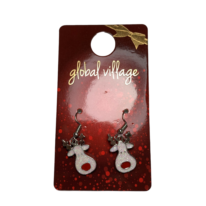 Glitter Reindeer Earrings