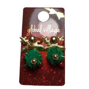 Global Village Gold Reindeer Earrings