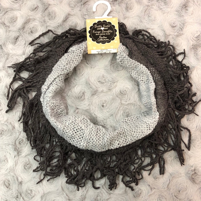Gray Ombre Fringe Infinity Scarf