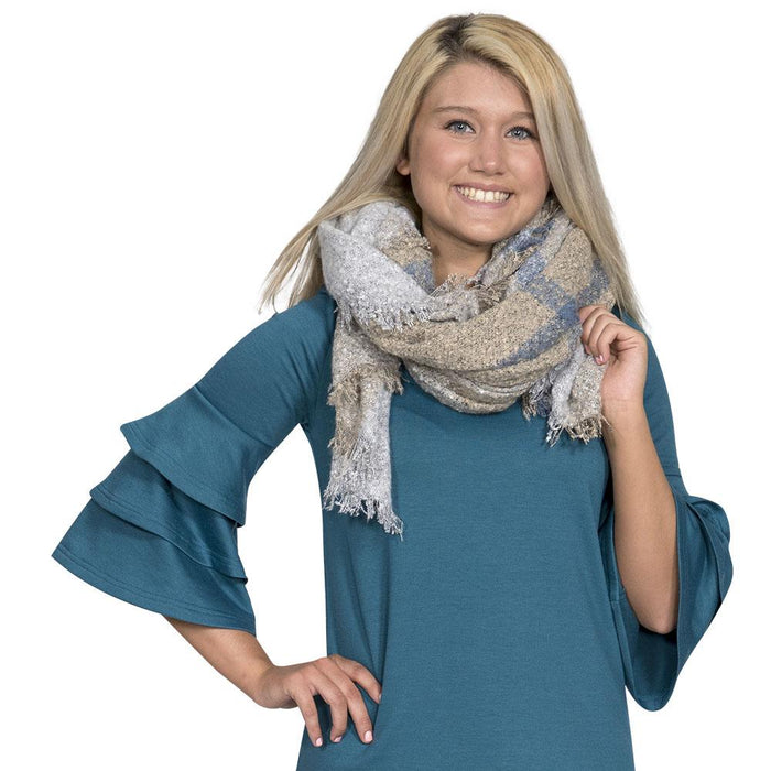 Simply Southern Grey And Tan Blanket Scarf