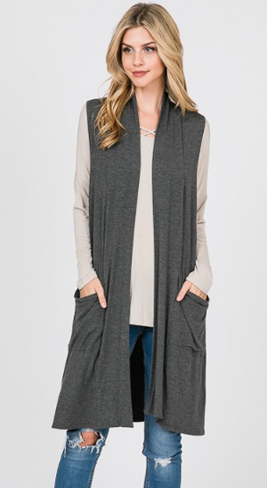 Emma's Closet Duster Vest-Heather