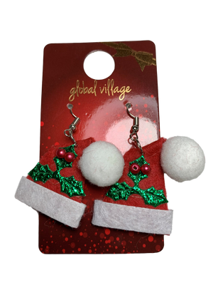 Global Village Holly Santa Hat Earrings