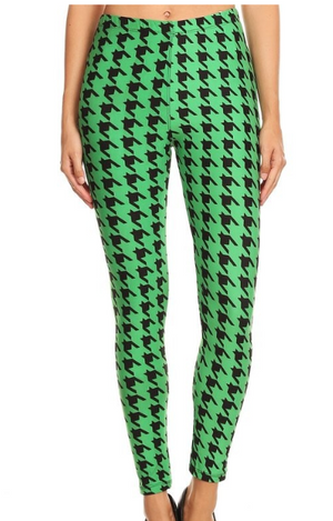Green Houndstooth Leggings