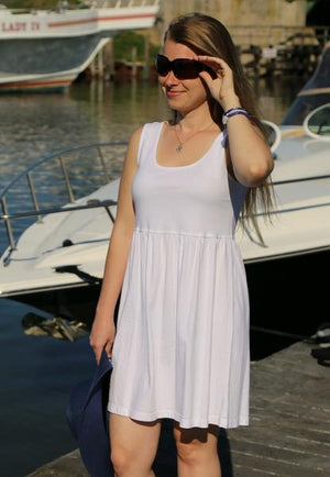 iCantoo White Solid Cotton Babydoll Dress