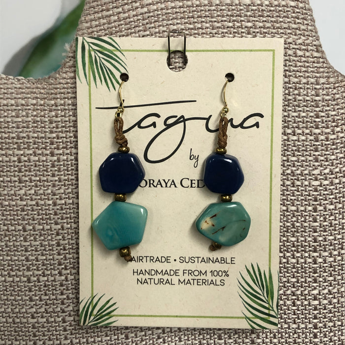 Tagua Double Blue/Teal Earrings