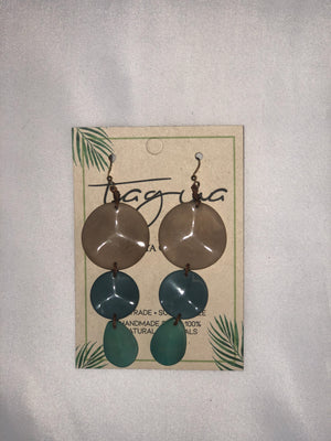 Tagua Blue Circle Earrings