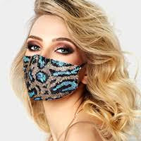 Blue Sequin Cheetah Mask