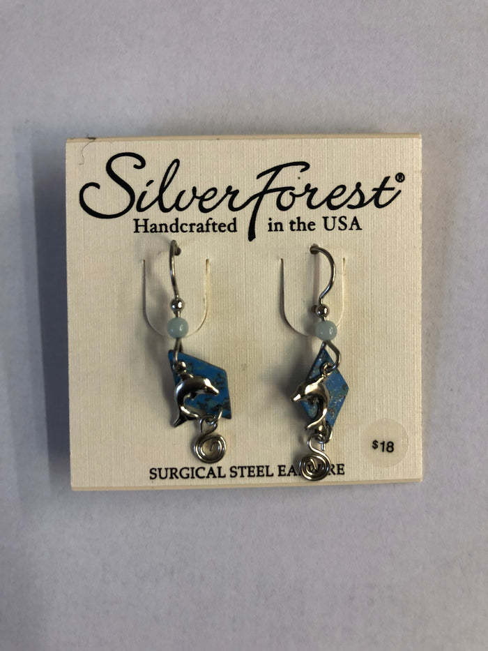 Silver Forest Dolphin Earrings