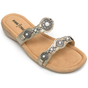 Minnetonka Boca Slide-Washed Gold