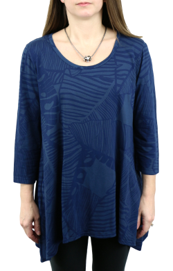 iCantoo Scoop Neck Palm Asymmetric Tunic