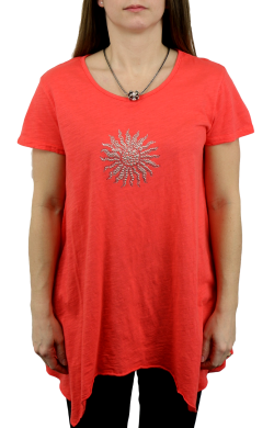 Asymmetric Scoop Neck Sunburst Tunic