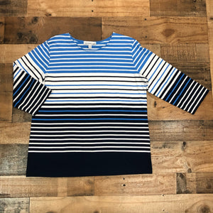 Southern Lady Blue Ombre Striped Top
