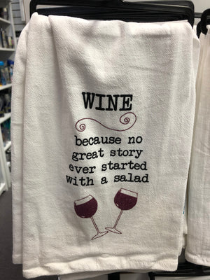 Wine Because Tea Towel