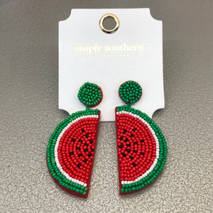 Simply Southern Beaded Watermelon Earrings
