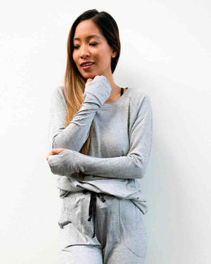 Hello Mello Weekender Long Sleeve Top-Grey