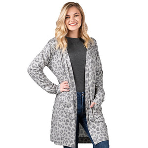 Simply Southern Grey Leopard Cardigan