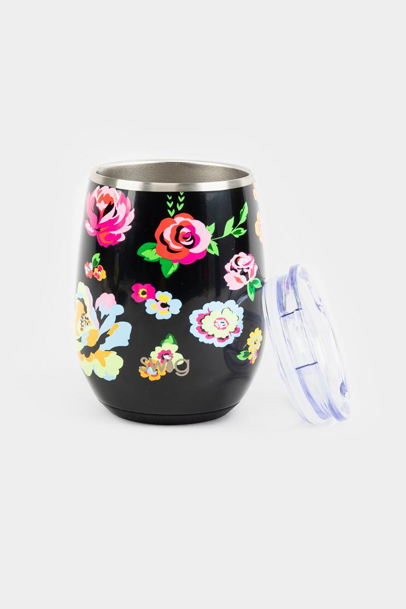 Swig Stemless Wine Glass-Black Floral