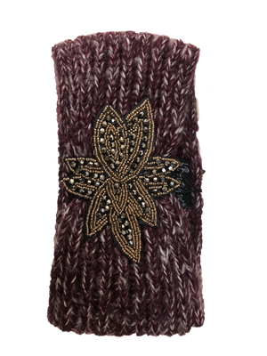 Beaded Flower Head Warmer-Maroon