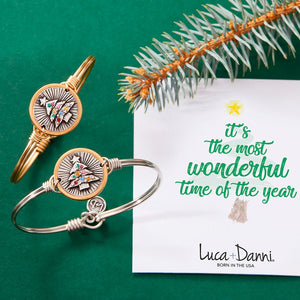 Luca + Danni Bangle-Christmas Tree-Brass