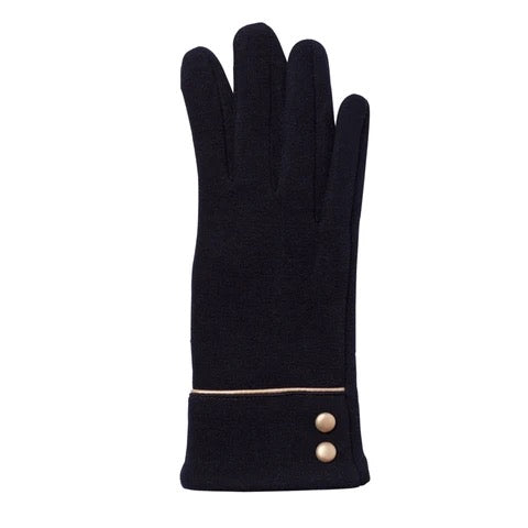 Top it Off Black Button Gloves
