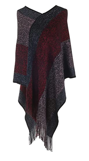 Jack and Missy Knit Poncho-Red