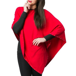 Top It Off Sophia Poncho-Red