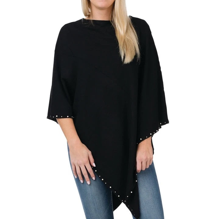 Top It Off Sophia Poncho-Black
