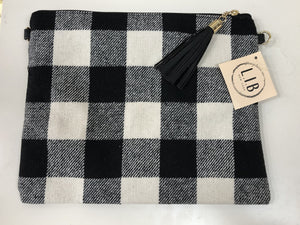 Gingham Plaid Large Wristlet