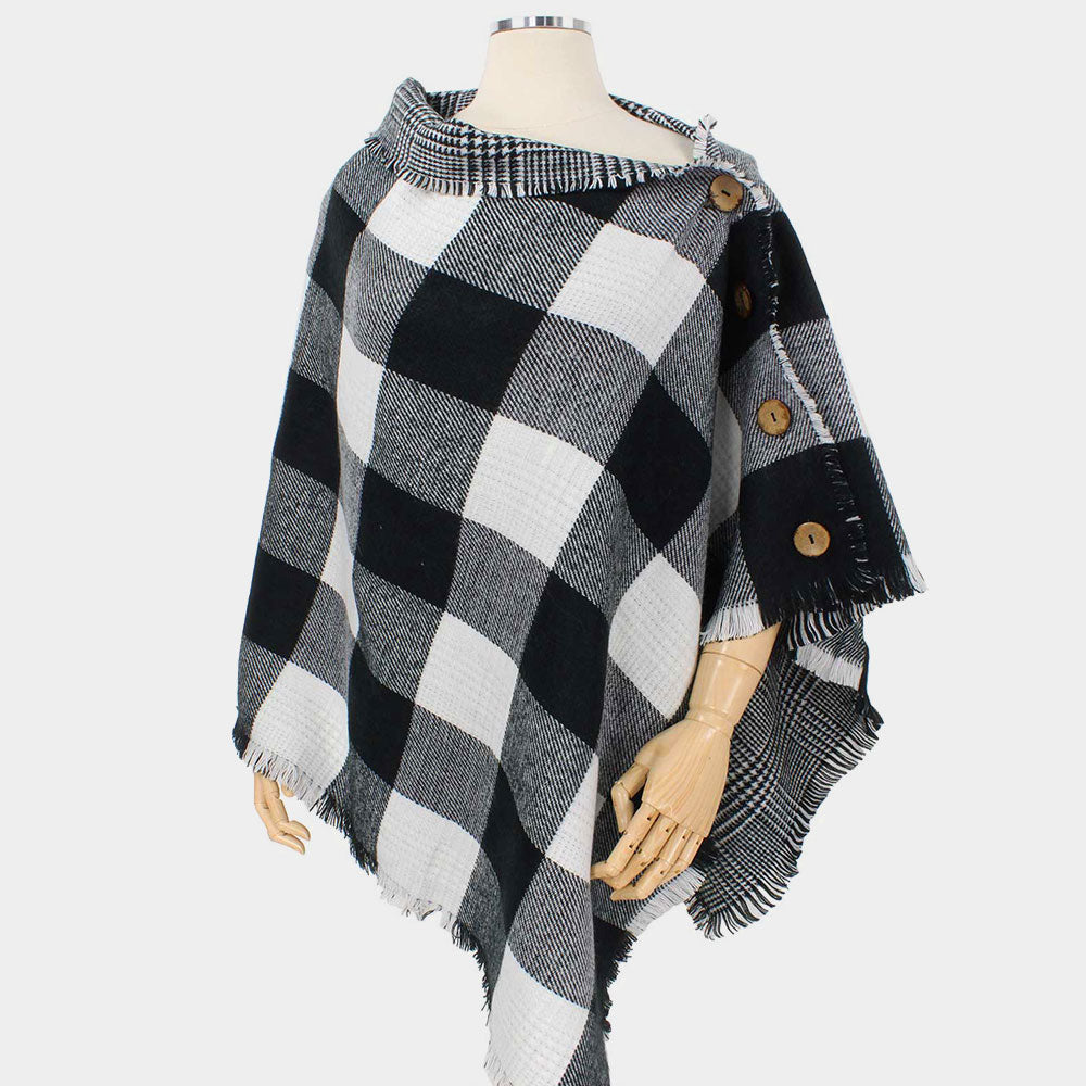 Reversible Button Poncho-Gingham Plaid