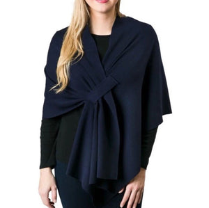 Top it Off Katie Knit Wrap-Navy
