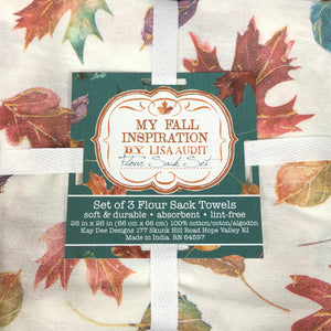 Fall Leave Set of 3 Flour Sack Towels