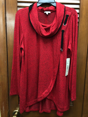 Seven Forty-Two Red Cowl Neck Top