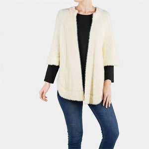 Coco + Carmen Fuzzy Shrug-Cream