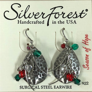 Silver Forest Christmas Beaded Earrings