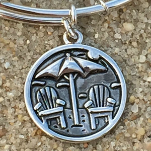 Bethany Beach Delaware Umbrella Bangle, Silver, Chrysalis