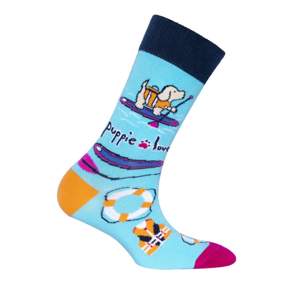 Puppie Love-Paddle Board Pup Crew Socks