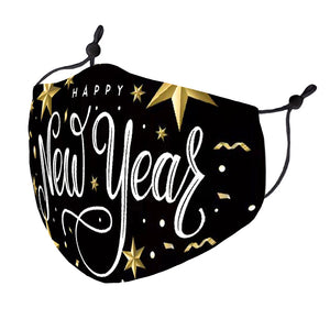 Happy New Year Black and Gold Mask