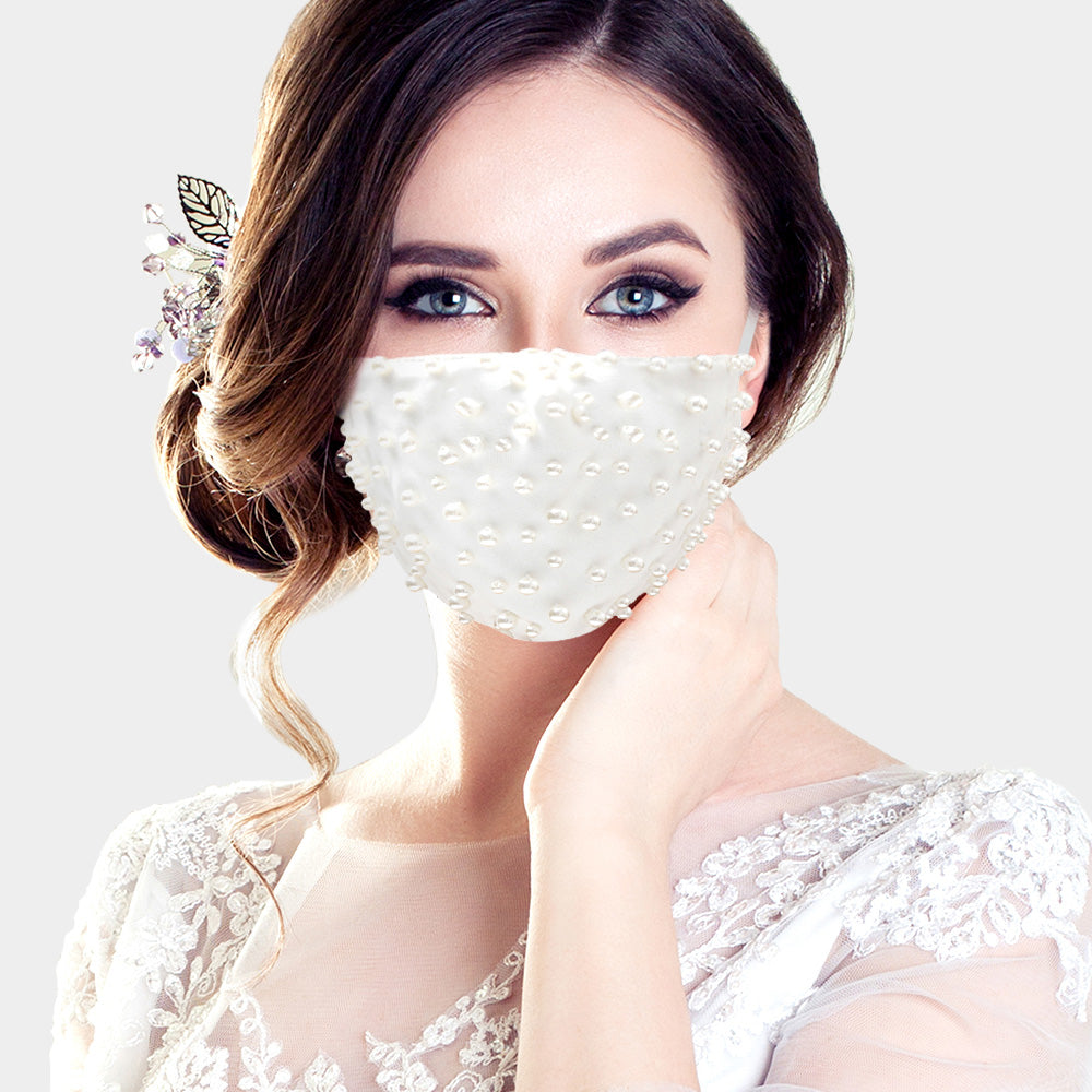 Faux Pearl Beaded Mask-White