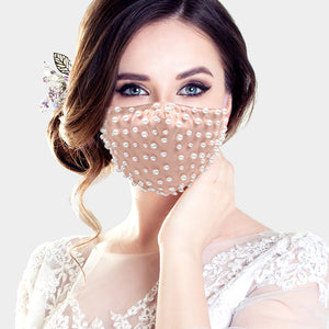 Faux Pearl Beaded Mask-Nude