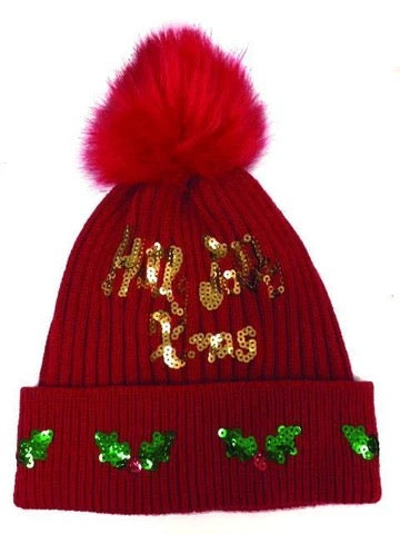Top It Off Holly Jolly Xmas Beanie-Red