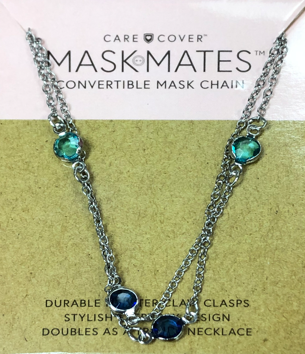 Mask Mates Convertible Mask Chain-Blue Gems