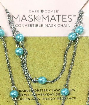 Mask Mates Convertible Mask Chain-Teal Pearl