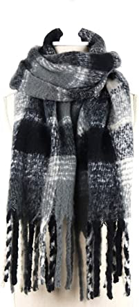 Jack and Missy Oversized Black Plaid Scarf