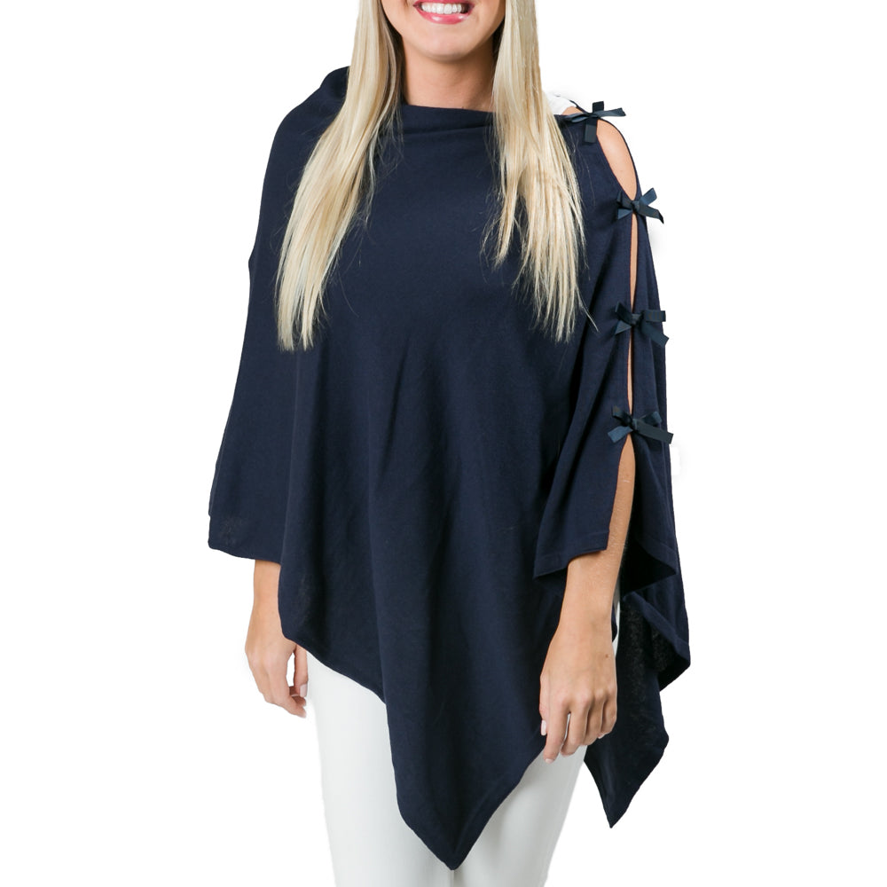 Top It Off Grace Poncho-Navy