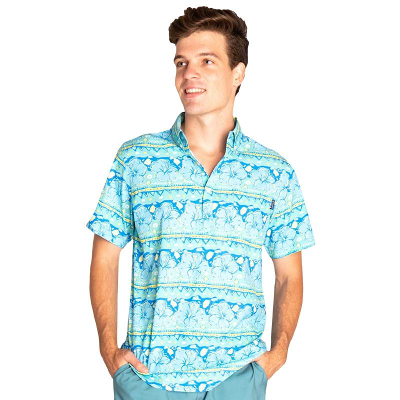 Simply Southern Guys Hibiscus Button Shirt