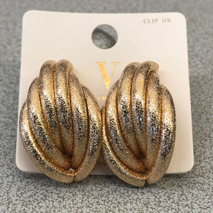 Gold Twist Clip On Earrings