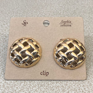 Waffle Pattern Clip Earrings